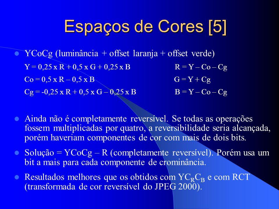 Espaços de Cores [5] YCoCg (luminância + offset laranja + offset verde) Y = 0,25 x R + 0,5 x G + 0,25 x B R = Y – Co – Cg.